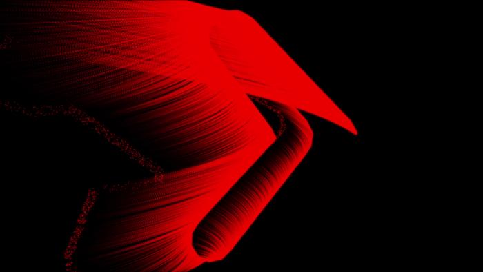ams Videograph-Pfeil animiert auf schwarzem Hintergrund